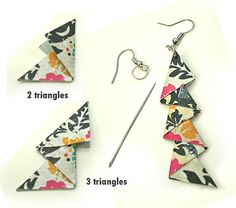 Sandys Space: Triangle Earrings Tutorial, these would make great Christmas trees! Paper Bead Jewelry, Origami Jewelry, Textile Jewelry, Fabric Jewelry, Paper Beads, Jewelry Crafts, Fabric Earrings, Paper Earrings, Fabric Beads