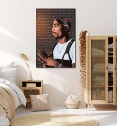 ready to hang canvas prints, 3 sizes available, and panel available upon request) Tupac Shakur, 2pac, Tupac Wallpaper, Artwork Prints, Canvas Prints, A3 Size, Life Goes On, Local Artists, Floating Nightstand