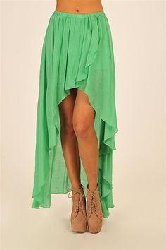 Grunge Flow Skirt - Kelly Green