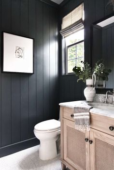 Thinking about a small bathroom makeover? Powder room design can be a challenge but these stunning half bath ideas will inspire you! #smallpowderroom #powderroomideas #powderroomdecor #powderroommodern #halfbathdecor Bathroom Interior, Bathroom Decor, Shiplap Bathroom, Black Bathroom, Penny Tiles Bathroom, Bathroom Interior Design, Home Decor, Ship Lap Walls, Bathroom Design