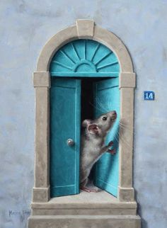 """Knock knock! Who's there? "" ""Toc toc! Qui est là?"" Little mouse with turquoise door. Oil painting, 6"" x 8"""