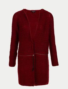 Gilet long en laine mélangée zippé