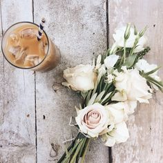 Iced Coffee and Flowers. #CountryLiving Love Life, take time to enjoy the little things.