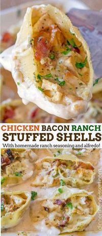 Chicken Bacon Ranch Stuffed Shells made with homemade ranch seasoning, chicken a. Chicken Bacon Ranch Stuffed Shells made with homemade ranch seasoning, chicken and bacon in a quick and easy ranch alfredo sauce. Easy Pasta Recipes, Chicken Recipes, Easy Meals, Cooking Recipes, Recipes With Alfredo Sauce, Bacon Recipes, Red Lobster Alfredo Sauce Recipe, Stuffed Pasta Recipes, Cooking Pasta