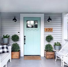 50 Stunning Modern Farmhouse Front Door Entrance Ideas - Decoration For Home Front Door Entrance, Front Door Colors, Entrance Ideas, Colored Front Doors, Front Door Lighting, Front Door Porch, Front Door Decor, Doorway, Front Porch Lights