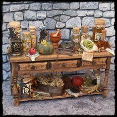WITCH TABLE ooak 1:12 miniature by Soraya Merino