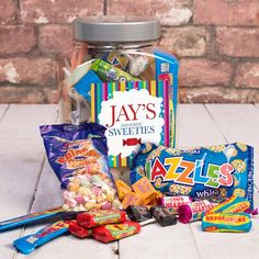 If you've got mini guests at your wedding, they're sure to love these retro sweet jars from gettingpersonal.co.uk which can be personalised with their names.