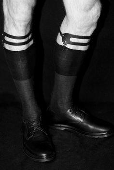 Image of Champion Sock Garters Silk Socks, Sheer Socks, Champion Socks, Sock Suspenders, Leather Socks, Dress Socks, Sock Shoes, Vogue, Black And White