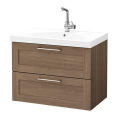 GODMORGON / EDEBOVIKEN Meuble lavabo 2tir, noyer motif noyer motif noyer 80x49x64 cm