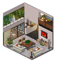 Isometric Drawing, Isometric Design, Habbo Pixel, Minecraft Welten, Pixel Art Background, Bedroom Drawing, Arte Indie, Inside Art, Pixel Animation