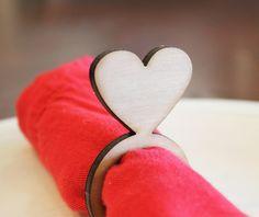 Heart Wood Napkin Rings, Valentine's Day, Laser Cut Set of 4, small | tiffzippy - on ArtFire
