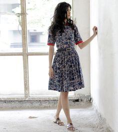 indigo floral print shirt dress by KharaKapas on Etsy