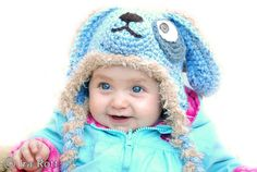 Who let the dogs out ?  Handmade crocheted blue puppy dog hat for kids.