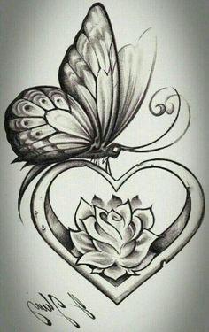 heart shape butterfly tattoo design tattoos tattoos, butterfly - rose and butterfly drawing Rose And Butterfly Tattoo, Butterfly Drawing, Butterfly Tattoo Designs, Tattoo Flowers, Butterfly Wings, Rose Heart Tattoo, Feather Drawing, Simple Butterfly, Butterfly Design