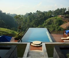 View out over the infinity pool across the deep, lush valley as you enter the main 'lobby' and restaurant area.