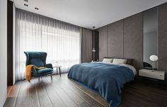 The bedroom takes on an aura of its own, in bolder colours and softer materials.