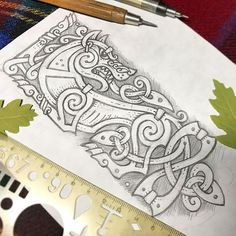 Beautiful wolf design created in a Viking or Norse style to reflect the Scandinavian culture Norse Tattoo, Tattoo On, Viking Tattoos, Dog Tattoos, Sketch Tattoo, Viking Designs, Celtic Designs, Dog Line Drawing, Drawing Eyes