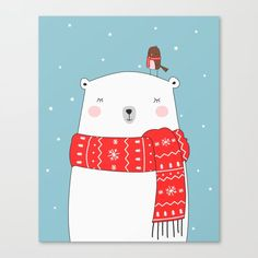 Cute illustration in christmas colors of a polar bear and a little bird. Wonderful design for home decoration. christmas card winter polar bear home decoration snow christmas bird cartoon Christmas Canvas, Christmas Bird, Christmas Drawing, Merry Little Christmas, Christmas Colors, Winter Christmas, Christmas Decorations, Merry Christmas Boyfriend, Merry Christmas 2017