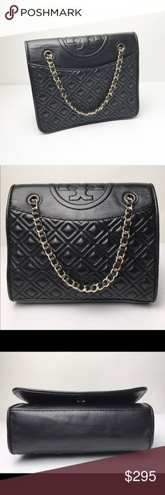 "Tory Burch Black Quilted Fleming Medium Chain Bag This is an Authentic classic Tory Burch Fleming Chain Shoulder Bag. This piece is in great pre-owned condition with no major signs of wear. Please review all photos *NO TRADE*  DETAILS 7.2""H x 9.2""L x 3.2""D Strap Drop: 12""-23"" drop Black Leather with Gold Hardware Chain link handles Carry it as a shoulder bag or crossbody Woven-leather shoulder strap can be doubled Flap top with snap closure Front and back slip pockets Interior, one zip and…"