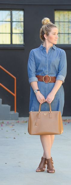 How to Style Long Sleeve Denim Shirt Dress for Spring w. Large Braided Belt. Spring Outfit Ideas. #style #fashion #longsleeve #denim #denimshirt #spring #braidedbelt #springoutfit #springfashion #fashionblogger #lucismorsels