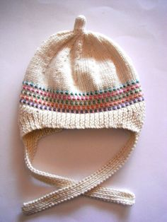 Hand Knitted 3M to 6M New Retro Inspired Dottie Hat in Winter White with Border Dot Feature.