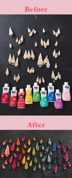 Use regular fabric dye to create a custom palette of bottlebrush trees. Super easy and an inexpensive way to get adorable holiday decor! Christmas Is Coming, Christmas Time, Christmas Wreaths, Christmas Crafts, Xmas, Family Christmas, Christmas Ornaments, Vintage Christmas, Christmas Ideas