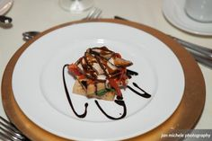 Vegan Napoleon - Layered Grilled Portobello Mushrooms, Roasted Red Peppers, Wilted Spinach, Grilled Tofu & Mozzarella Cheese, Dressed with Basil Pesto  |  Belmont Country Club Weddings  |  Jan Michelle Photography