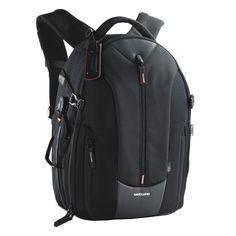Vanguard Up-Rise II 46 Backpack for Camera Gear and Accessories (Black). Extra secure tripod holder with quick adjustment straps. Breathable back panel fabric with air flow system for comfortable carrying. Exterior pocket and D-ring for carrying and attaching accessories. Rain cover included. Compartment for laptop up to 14-Inch.