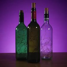 Bottle Lights Do you have lots of empty glass bottles at home? Thinking of how to make it useful? Recycle it and make it a home decoration with this Bottle Lights! Bring more lights at home and turn y Empty Glass Bottles, Glass Bottle Crafts, Wine Bottle Art, Lighted Wine Bottles, Decorating Wine Bottles, Recycled Wine Bottles, Decorative Glass Bottles, Wine Bottles Decor, Whiskey Bottle Crafts