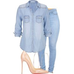A fashion look from November 2014 featuring maurices tops, Christian Louboutin pumps and Michael Kors earrings. Browse and shop related looks. Komplette Outfits, Cute Casual Outfits, Casual Chic, Stylish Outfits, Fall Outfits, Fashion Outfits, Womens Fashion, Looks Camisa Jeans, Looks Jeans