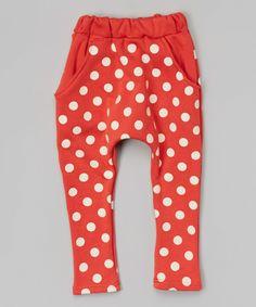 Red & White Polka Dot Harem Pants - Infant, Toddler & Kids