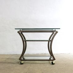 French Trolley Table By Pierre Vandel, Trolley Table, Beveled Glass, Hollywood Regency, Glass Shelves, Vanity Bench, 1970s, Shelf, Brass, France