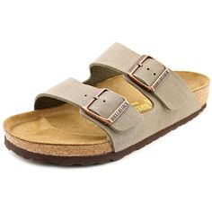Birkenstock Arizona Women Slide Sandals ($104) ❤ liked on Polyvore featuring shoes, sandals, grey, birkenstock shoes, gray shoes, birkenstock sandals, grey leather sandals and open toe shoes