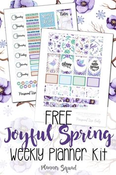 Free Printable Joyful Spring Weekly Planner Stickers {subscription required}