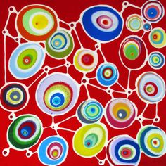 "Klari Reis - ENTWINED RED 60"" X 60"""