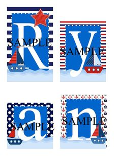 Sailboats/Nautical Personalized Blocks Great for baby by slcshop, $7.50