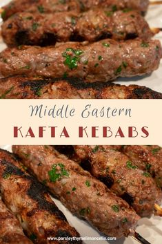 Lebanese Kafta Kebabs These grilled kofta kebabs are perfect for a summertime meal when you are craving those Middle Eastern food flavors. Armenian Recipes, Lebanese Recipes, Turkish Recipes, Greek Recipes, Indian Food Recipes, Persian Recipes, Arabic Recipes, Lebanese Cuisine, Salads