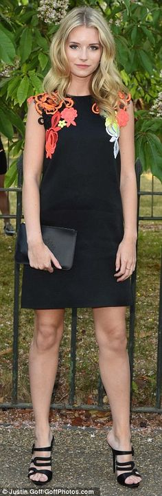 Leggy display: Kate Moss' 17-year-old sister Lottie Moss looked radiant in a black, cap-sl...