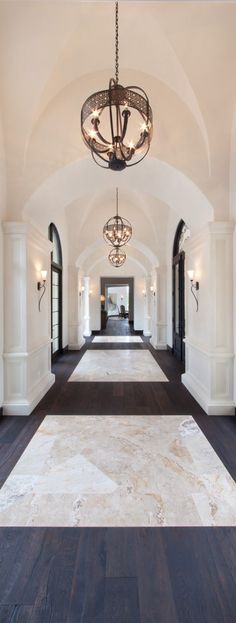 Stylish entryway and lobby decor ideas. Dazzling Design Projects from DelightFULL   http://www.delightfull.eu/usa/. Eye catching lighting- chandeliers, suspension lights, wall lamps, floor lamps for modern entryways and halls decor, classic and modern consoles and mirrors. Interior design trends.
