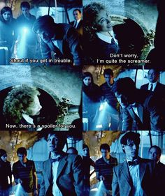 "The Doctor: Be careful! River: Careful. Tried that once. Ever so dull. The Doctor: Shout if you get in trouble. River: Don't worry. I'm quite the screamer. Now there's a spoiler for you! Delaware: So what's going on here? The Doctor: Uh... nothing. She's just a friend. Rory: I think he's talking about the possible alien incursion..... I thought that was funny, mostly because the Doctor is probably thinking, ""What is that woman going to do to me!"""