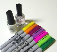 DIY Sharpie Nails. 1 layer white base coat, followed by sharpie design. then pat on the top coat. NO brushing or else the design will clear. Once the first layer of top coat dries apply final layer of top coat.