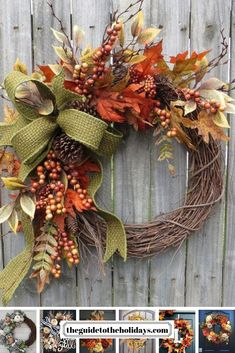 Fall Wreath, Fall Berry Wreath, Fall Leaf Wreath, Fall burlap in Green This fall wreath is the perfect harvest time decoration! A gorgeous wired green basket weaver burlap ribbon is the focal point. Diy Fall Wreath, Autumn Wreaths, Holiday Wreaths, Wreath Ideas, Thanksgiving Wreaths, Spring Wreaths, Summer Wreath, Fall Door Wreaths, Fall Wreath Tutorial