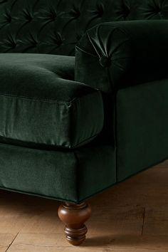 Slide View: 2: Velvet Fan Pleat Sofa