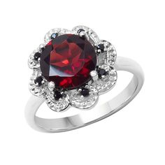 USA Sterling Silver Garnet and Spinal Ring (Size:, Color: Red), Women's