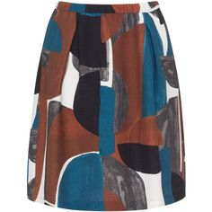 Samoon Petrol / Brown Plus Size Graphic print skirt (5.380 RUB) ❤ liked on Polyvore featuring skirts, petrol, plus size, plus size skater skirt, knee length pleated skirt, plus size skirts, brown knee length skirt and a-line skirts