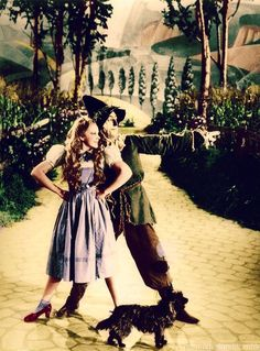 Judy Garland and Ray Bolger in an early publicity shot for The Wizard of Oz (1939), still under the direction of Richard Thorpe