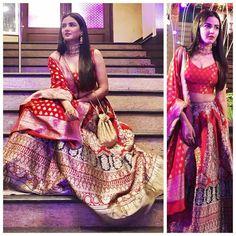 Actress gallery: Jasmin bhasin cleavage show Indian Bridal Fashion, Indian Wedding Outfits, Indian Outfits, Wedding Lehenga Designs, Banarasi Lehenga, Lehnga Dress, Indian Designer Suits, Indian Attire, Indian Wear