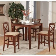 Merax 5 piece Dining Table Set High Pub Table Set with 4 Bar