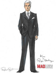 Ken as Roger Sterling.  Mad Men.  Illustration by Robert Best.