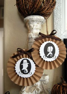 Thanksgiving  Pilgrim Silhouette Decorative paper fans / set of 2 on Etsy, $9.50
